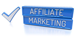 Affiliate Marketing - 3D Render. Affiliate Marketing - Blue banners with check mark -  3D Render Royalty Free Stock Photos