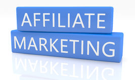 Affiliate Marketing. 3d render blue box with text Affiliate Marketing on it on white background with reflection Stock Photography