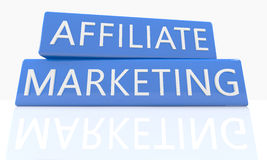 Affiliate Marketing. 3d render blue box with text Affiliate Marketing on it on white background with reflection Stock Photos