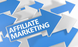 Affiliate Marketing. 3d render concept with blue and white arrows flying over a white background Stock Image
