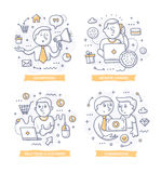 Affiliate Marketing Doodle Illustrations. Doodle illustrations of promoting companies products for commission. Concepts of affiliate marketing for telling brand stock illustration