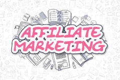 Affiliate Marketing - Doodle Magenta Text. Business Concept. Stock Images