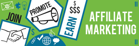 Affiliate Marketing Green Blue Banner Stock Images