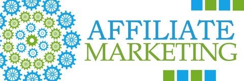 Affiliate Marketing Green Blue Circular Gears Horizontal Royalty Free Stock Images