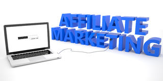 Affiliate Marketing. Laptop computer connected to a word on white background. 3d render illustration Stock Image