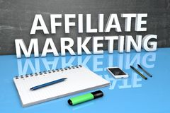 Affiliate Marketing text concept. Affiliate Marketing - text concept with chalkboard, notebook, pens and mobile phone. 3D render illustration Royalty Free Stock Photo