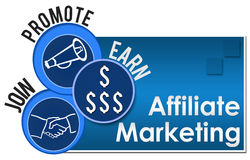 Affiliate Marketing Three Circles. Affiliate Marketing Image with four blue blocks and related symbols