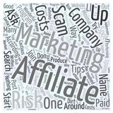 Affiliate Marketing Tips On How To Spot A Scam word cloud concept vector background Royalty Free Stock Photos