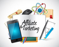 Affiliate marketing tools and sign illustration Stock Images