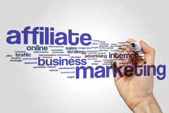 Affiliate marketing word cloud concept on grey background.  Royalty Free Stock Image
