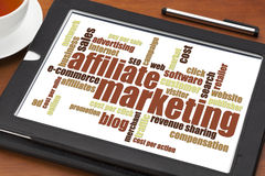 Affiliate marketing word cloud. On a digital tablet with a cup of tea Royalty Free Stock Photography