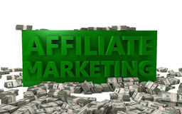 Affiliate Marketing. The words Affiliate Marketing rendered in 3D letters with bundles of money vector illustration