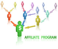 Affiliate program. Affiliate marketing. The team of businessmen vector illustration