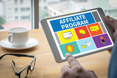 AFFILIATE PROGRAM. Computing Computer  Laptop with screen on table Silhouette and filter sun Royalty Free Stock Image