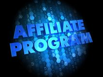 Affiliate Program on Digital Background. Affiliate Program - Blue Color Text on Digital Background Stock Images