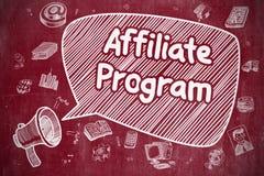 Affiliate Program - Doodle Illustration on Red Chalkboard. Stock Image