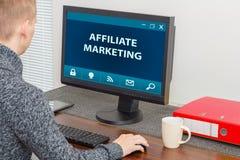 Affiliate program. Affiliate marketer working on affiliate program Stock Photo