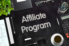 Affiliate Program - Text on Black Chalkboard. 3D Rendering. Royalty Free Stock Photo