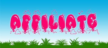 AFFILIATE written with pink balloons on blue sky and green grass background. Royalty Free Stock Photography