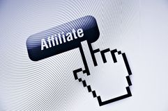 Affiliate in www. Web button with pixel cursor royalty free stock images