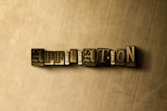 AFFILIATION - close-up of grungy vintage typeset word on metal backdrop. Royalty free stock illustration.  Can be used for online banner ads and direct mail Royalty Free Stock Photo