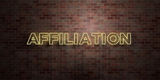 AFFILIATION - fluorescent Neon tube Sign on brickwork - Front view - 3D rendered royalty free stock picture. Can be used for online banner ads and direct Stock Images