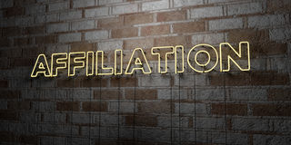 AFFILIATION - Glowing Neon Sign on stonework wall - 3D rendered royalty free stock illustration. Can be used for online banner ads and direct mailers Stock Photos
