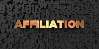 Affiliation - Gold text on black background - 3D rendered royalty free stock picture. This image can be used for an online website banner ad or a print Royalty Free Stock Photos