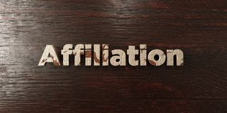 Affiliation - grungy wooden headline on Maple  - 3D rendered royalty free stock image. This image can be used for an online website banner ad or a print Royalty Free Stock Photo