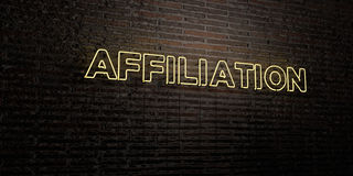 AFFILIATION -Realistic Neon Sign on Brick Wall background - 3D rendered royalty free stock image. Can be used for online banner ads and direct mailers Stock Photos