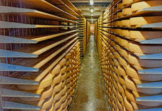 Affinage cellar in the Maison du Gruyere Stock Photography