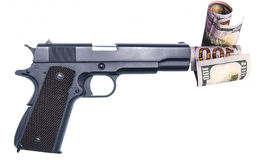 Affinchè i soldi comprino illegalmente le armi dalla mafia Immagine Stock Libera da Diritti