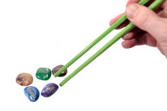 Affirmation stones and chopsticks Stock Photos