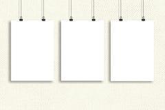 Affischåtlöje för tre vitbok upp, väggåtlöje upp Arkivbild