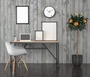 Affischåtlöje upp, arbetsskrivbord, med bärbara datorn, illustration 3D Royaltyfri Bild