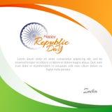Affisch av den lyckliga republikdagen i Indien på den Januari 26 mallen med text och flödande linjer av färger av nationsflaggan stock illustrationer