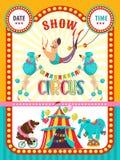 Affisch av en cirkusshow också vektor för coreldrawillustration Cirkuskonstnärer och utbildade djur stock illustrationer
