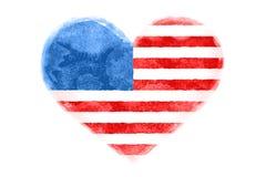 Affisch av förenade statliga Amerika för vattenfärghjärta den form flaggan Royaltyfri Bild