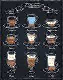 Affisch av olikt kaffe i tappningstilteckning med krita på svart tavla Royaltyfri Fotografi