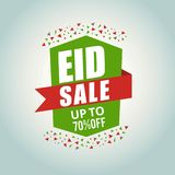 Affisch, baner eller reklamblad för vektorillustrationförsäljning av eid mubarak Royaltyfri Foto