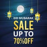 Affisch, baner eller reklamblad för vektorillustrationförsäljning av eid mubarak Arkivbilder