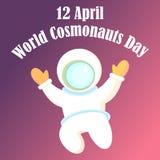 Affisch baner, kort för världskosmonautdagen Astronautet i en vit dykningdräkt och en stor hjälm Fotografering för Bildbyråer