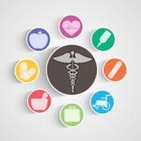 Affisch, baner och klistermärke med medicinska utrustningar och symbol Arkivbild