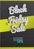 Affisch Black Friday Svartvit bakgrund, rabatter, procent, försäljning, text 3D Sale och specialt erbjudande vektor Arkivfoton