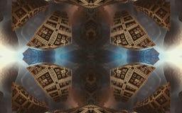 Affisch eller bakgrund för epos abstrakt fantastisk Futuristisk sikt från inre av fractalen Modell i form av pilar royaltyfria foton