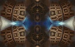 Affisch eller bakgrund för epos abstrakt fantastisk Futuristisk sikt från inre av fractalen Modell i form av pilar arkivfoton