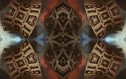 Affisch eller bakgrund för epos abstrakt fantastisk Futuristisk sikt från inre av fractalen Modell i form av pilar royaltyfri bild
