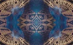 Affisch eller bakgrund för epos abstrakt fantastisk Futuristisk sikt från inre av fractalen Modell i form av pilar royaltyfri foto