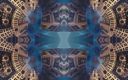 Affisch eller bakgrund för epos abstrakt fantastisk Futuristisk sikt från inre av fractalen Modell i form av pilar royaltyfri fotografi