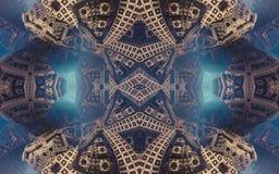 Affisch eller bakgrund för epos abstrakt fantastisk Futuristisk sikt från inre av fractalen Modell i form av pilar royaltyfria bilder